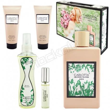 ست هدیه زنانه گوچی بلوم کارلوتا ادو تویلت و لوسیون مدل CARLOTTA Growing Flower Aqua Gucci Bloom