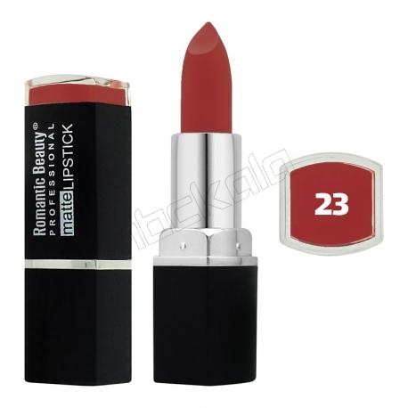 رژ لب جامد رمانتیک بیوتی مات مدل L80779 تستردار شماره 23 Romantic Beauty Professional Matte Lipstick