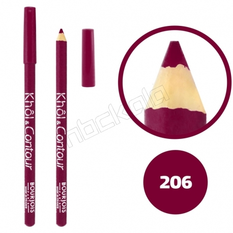 خط چشم خط لب خل اند کونتور بورژوآ ضدآب شماره 206 Bourjois Khol & Contour Waterproof Eyeliner Lipliner Pencil