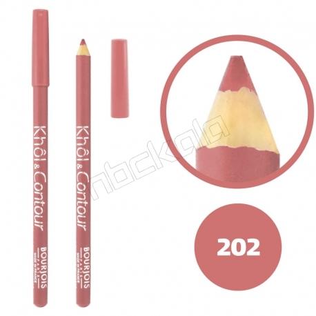 خط چشم خط لب خل اند کونتور بورژوآ ضدآب شماره 202 Bourjois Khol & Contour Waterproof Eyeliner Lipliner Pencil