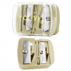 مداد تراش آرایشی یویی مدل دو تراشه بژ YOUYI Makeup Pencil Sharpener