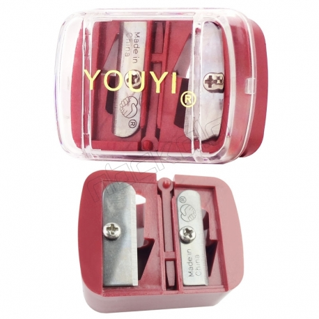 مداد تراش آرایشی یویی مدل دو تراشه زرشکی YOUYI Makeup Pencil Sharpener