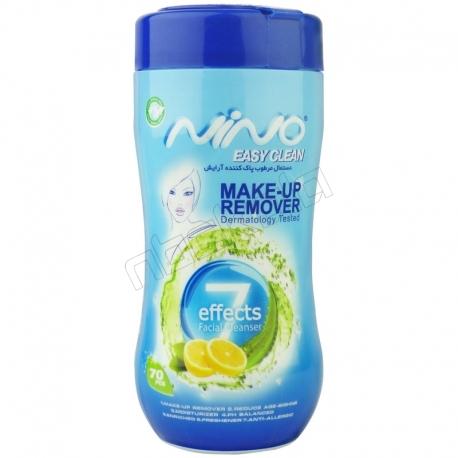 دستمال مرطوب پاک کننده آرایش 7 کاره کمر باریک نینو 70عددی Nino 7 Effects Easy Clean Make-Up Remover