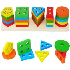 بازی فکری جاگذاری اشکال هندسی چوبی 5 ستونه وودن تویز Wooden toys