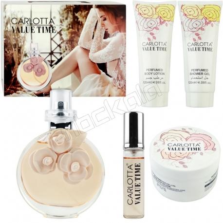 ست هدیه زنانه والنتینا کارلوتا ادو تویلت و لوسیون مدل CARLOTTA VALUE TIME