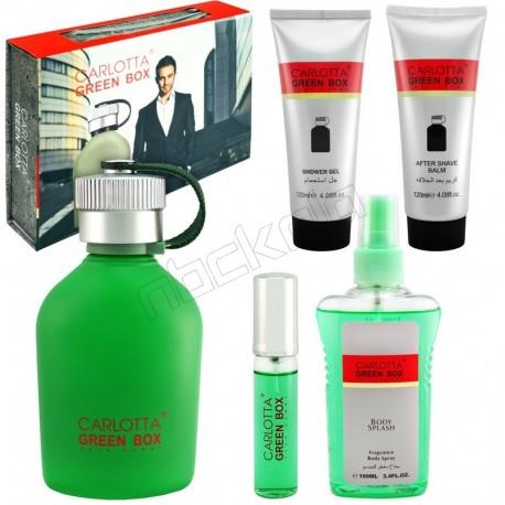 ست هدیه مردانه هوگو بوس من قمقمه ای کارلوتا ادو تویلت و لوسیون مدل CARLOTTA Green Box Hugo Boss Man