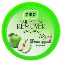 پد لاک پاک کن زیکو مدل کاسه ای با عطر سیب سبز 32 عددی Ziko Star Nail Polish Remover Pad Green Apple Scented 32 pads