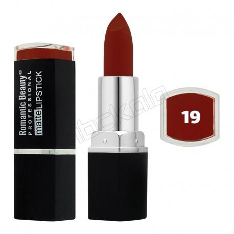 رژ لب جامد رمانتیک بیوتی مات مدل L80779 تستردار شماره 19 Romantic Beauty Professional Matte Lipstick