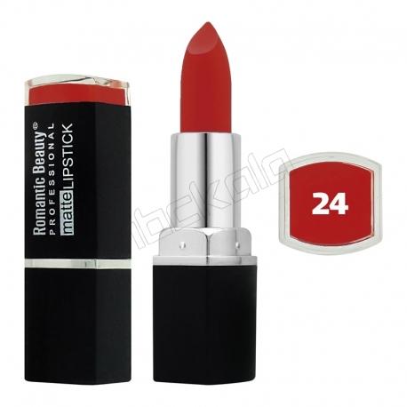 رژ لب جامد رمانتیک بیوتی مات مدل L80779 تستردار شماره 24 Romantic Beauty Professional Matte Lipstick