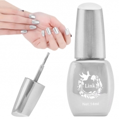 لاک ناخن آینه ای لینک رنگ نقره ای Link Nail Polish Mirror Shine Silver 14 ml