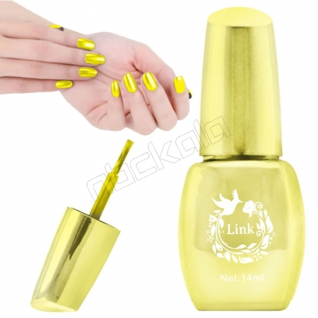 لاک ناخن آینه ای لینک رنگ طلایی Link Nail Polish Mirror Shine Golden 14 ml