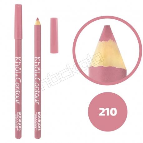 خط چشم خط لب خل اند کونتور بورژوآ ضدآب شماره 210 Bourjois Khol & Contour Waterproof Eyeliner Lipliner Pencil