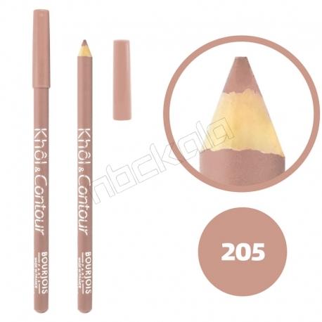 خط چشم خط لب خل اند کونتور بورژوآ ضدآب شماره 205 Bourjois Khol & Contour Waterproof Eyeliner Lipliner Pencil