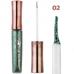 خط چشم کیس بیوتی مدل شاین اکلیلی ضدآب شماره 02 Kiss Beauty Glitter Shiny Waterproof Eyeliner