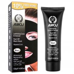 ماسک صورت آموج مدل ماسک سیاه حاوی عصاره خاویار و زغال AMOJ Black Mask Charcoal Caviar 120g