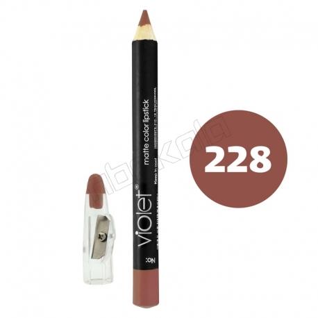 رژ لب مدادی ویولت مدل مداد خط چشم و خط لب ضدآب شماره 228 Violet Matte Lip Liner & Eye Liner Waterproof Pencil