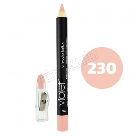 رژ لب مدادی ویولت مدل مداد خط چشم و خط لب ضدآب شماره 230 Violet Matte Lip Liner & Eye Liner Waterproof Pencil
