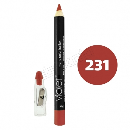 رژ لب مدادی ویولت مدل مداد خط چشم و خط لب ضدآب شماره 231 Violet Matte Lip Liner & Eye Liner Waterproof Pencil