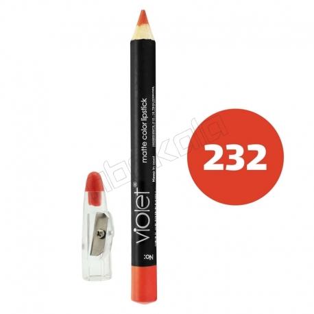 رژ لب مدادی ویولت مدل مداد خط چشم و خط لب ضدآب شماره 232 Violet Matte Lip Liner & Eye Liner Waterproof Pencil