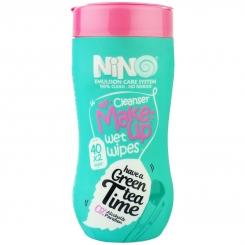 دستمال مرطوب پاک کننده آرایش نینو مدل چای سبز 40 عددی دولایه Nino Green Tea Clean Make-Up Remover