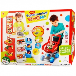 ست اسباب بازی سوپر مارکت هوم با چرخ خرید اورجینال خارجی مدل 66820 HOME Luxury Supermarket Playset