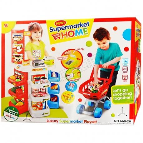 ست اسباب بازی سوپر مارکت هوم با چرخ خرید ارجینال خارجی مدل 20-668 HOME Luxury Supermarket Playset