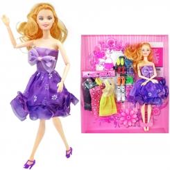عروسک ست باربی با ست لباس و کفش بنفش Fashion Girl Barbie No.1020