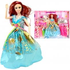 عروسک ست باربی با ست لباس و کیف و تاج و عصای جادویی باربی آبی Vogue Barbie No.842