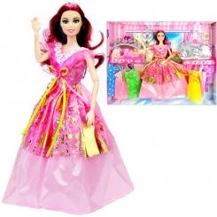 عروسک ست باربی با ست لباس و کیف و تاج و عصای جادویی باربی صورتی Vogue Barbie No.842