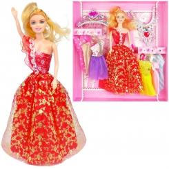 عروسک ست باربی با ست لباس و گردنبند و تاج باربی قرمز Barbie Sweet Queen No.313