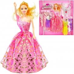 عروسک ست باربی با ست لباس و گردنبند و تاج باربی صورتی Barbie Sweet Queen No.313