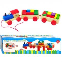 اسباب بازی فکری قطار چوبی سه تکه و بلوک های چوبی جاگذاری بار The Three section train blocks