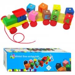 اسباب بازی فکری قطار چوبی سه تکه و بلوک های چوبی چرخشی جاگذاری بار The whirlwind three carriage train