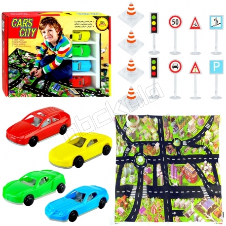 زیر انداز ماشین بازی و آموزش راهنمایی و رانندگی شهر ماشین ها سایز 70×100 سانتی متر Cars City