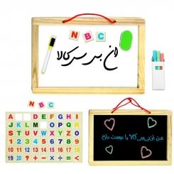 تخته وایت بورد مگنتی و تخته سیاه با 54 حرف و عدد مگنتی Whiteboard Blackboard 54 magnetic pcs