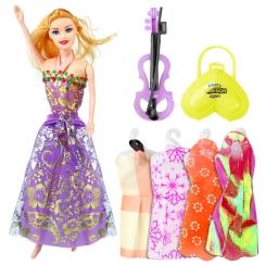 عروسک ست باربی با ست لباس و کیف و ویولن باربی بنفش Beauty Model Barbie No.5588