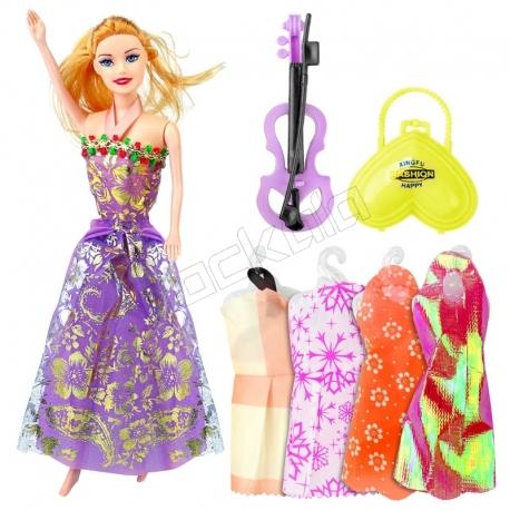 عروسک ست باربی با ست لباس و کیف و ویولون باربی بنفش Beauty Model Barbie No.5588