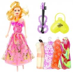 عروسک ست باربی با ست لباس و کیف و ویولن باربی صورتی Beauty Model Barbie No.5588