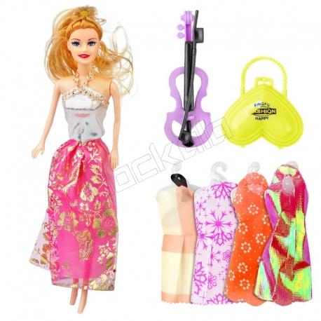 عروسک ست باربی با ست لباس و کیف و ویولن باربی دامن صورتی Beauty Model Barbie No.5588