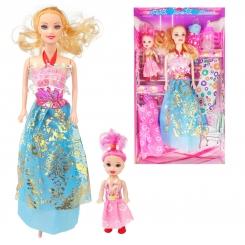 عروسک ست باربی با لباس و شیشه شیر و بچه باربی دامن آبی Briskness Girls Barbie No.2011A