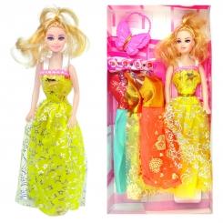 عروسک ست باربی با ست لباس و کیف پروانه ای باربی زرد Pretty Barbie No.6603
