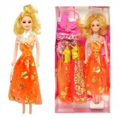 عروسک ست باربی با ست لباس و کیف پروانه ای باربی نارنجی Pretty Barbie No.6603