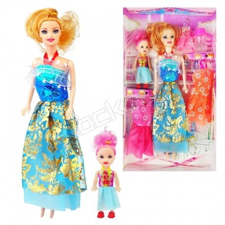 عروسک ست باربی با لباس و شیشه شیر و بچه باربی آبی Briskness Girls Barbie No.2011A