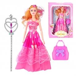 عروسک ست باربی با کیف و عصای جادویی باربی صورتی Fashion Barbie No.682