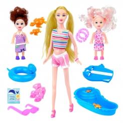 عروسک ست باربی مدل باربی با 2 کودک باربی و استخر باربی Bonnie Pink Summer Time Barbie 6177