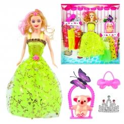 عروسک ست باربی با ست لباس و کوآلا و پروانه و کیف باربی سبز ELEGANT Barbie No.053