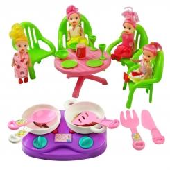 ست آشپزخانه به همراه عروسک و میز ناهار خوری بی بی ناز 20 تکه