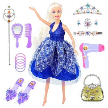 عروسک ست باربی 13 پارچه با تاج و عصا و صندل و جواهرات باربی آبی Barbie No.888