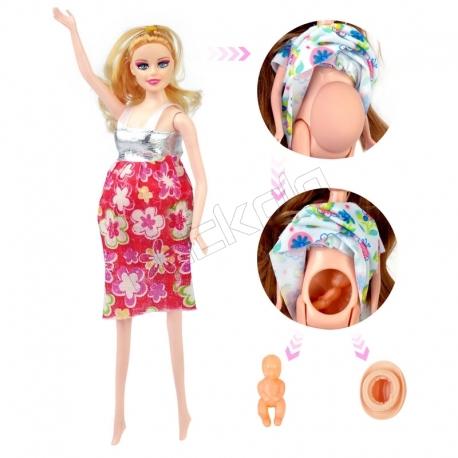 عروسک ست باربی مدل باربی باردار نقره ای Fashion Girl Pregnant Barbie No.1006