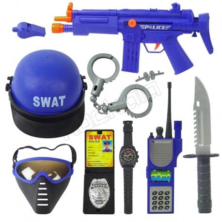ست 10 تکه اتفنگ و کلاه پلیس ویژه ضد ترور JUSTICE FORCE SET WORLD POLICE 34330